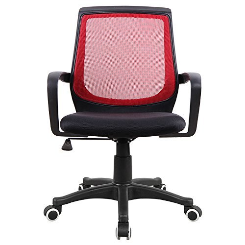 High Chair No Wheels (American Phoenix Mid-Back Red Back Mesh Chair with Adjustable High, Black Mesh Ergonomic Office Chair Desk Computer Chair)