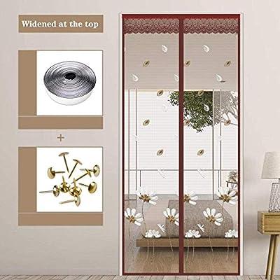 Patrón De Loto Café Farol Antimosquitos 90x200cm / 35x78inches Mosquitera Iman Puerta para madera, puertas de aluminio de hierro y balcón, puerta corredera de la sala de estar,Fácil de Montar sin Tal: