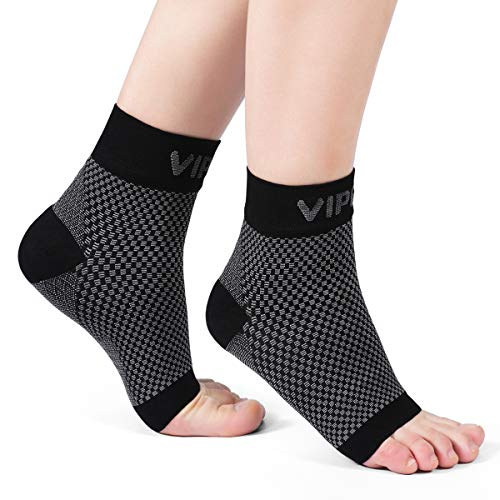 Ankle Brace Plantar Fasciitis Socks, Compression Foot Sleeves for Men Women, 1 Pair Heel Socks for Running, Arch Pain, Nurses, Maternity and More Sports (Medium: 7-10 arch circumference, Black)