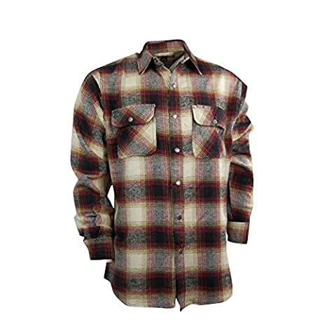 Men's Snap-front Western Heavyweight Cotton Flannel Shirt (XX-Large, Red Ombre) - Canyon Guide