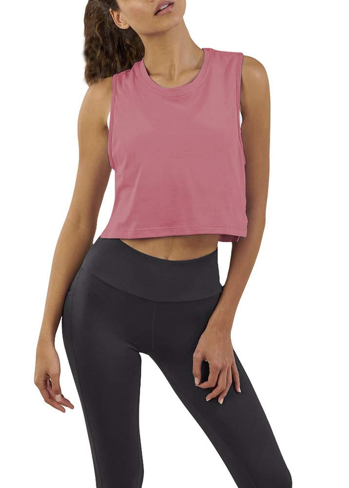 Mippo Women's Pink Crop Top T Shirt Sleeveless High Neck Racerback Tank Casual Lightweight Shirts Quick Dry for Women Rose S by Mippo
