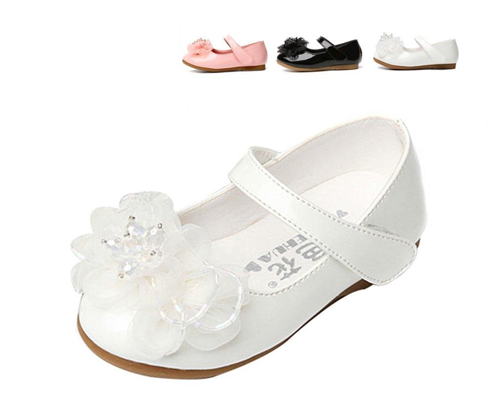 Femizee Kids Girls Wedding Shoes Ballet Flats with Flower(Toddler/Little Kid),White,1526 CN 25