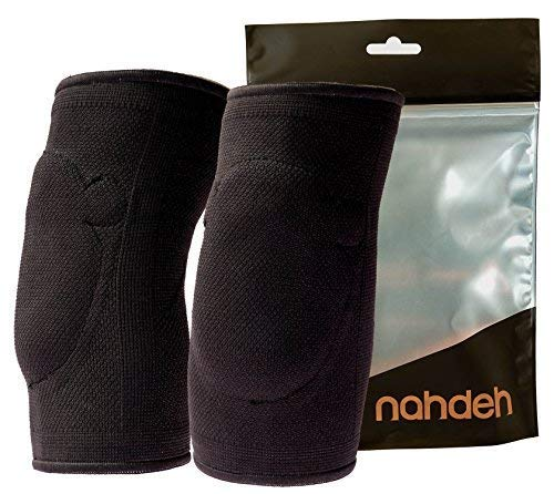 nahdeh Silicon Gel Elbow Pads (Black, Large)