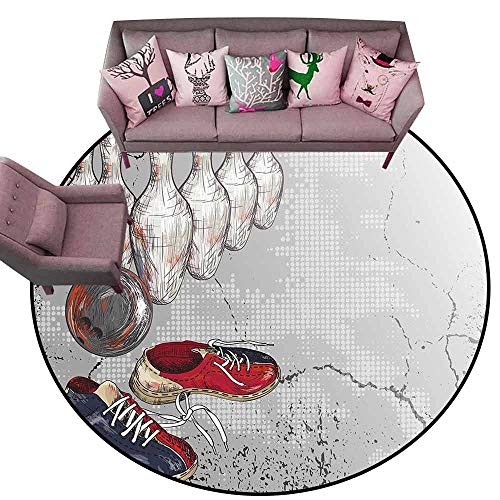 - Kitchen Mat Bowling Party Decorations,Bowling Shoes Pins and Ball Artistic Grunge Style,Light Grey Red Dark Blue Diameter 48