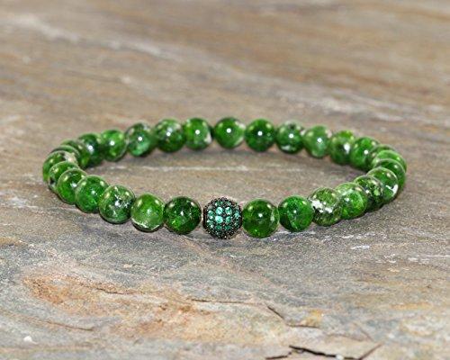 - A Grade Chrome Diopside Bracelet, Green Heart Chakra Bracelet, Wrist Mala Beads, Yoga Boho Gemstone, Healing Crystals, Compassion-Kindness