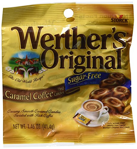 Werthers Sugar Free Caramel Coffee Hard Candy 1.46 oz Bag (3-Pack Totaling 4.38 oz)