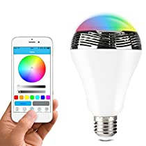 Lunvon Lampadina Bluetooth Altoparlante, LED Lampada Intelligente E27, Luce della Sera RGB / Audio Mini Altoparlante + Luci Multicolore - Funziona con IPhone, IPad, Apparecchi Android e Tablet
