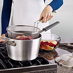 Tramontina Professional 5.5 Qt. Covered Deep Fryer, Satin Finish, Made in USA
