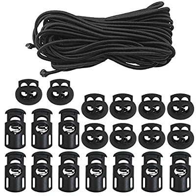 DaKuan 20 PCS Plastic Cord Locks & Elastic Bungee Nylon Shock Cord 5/32