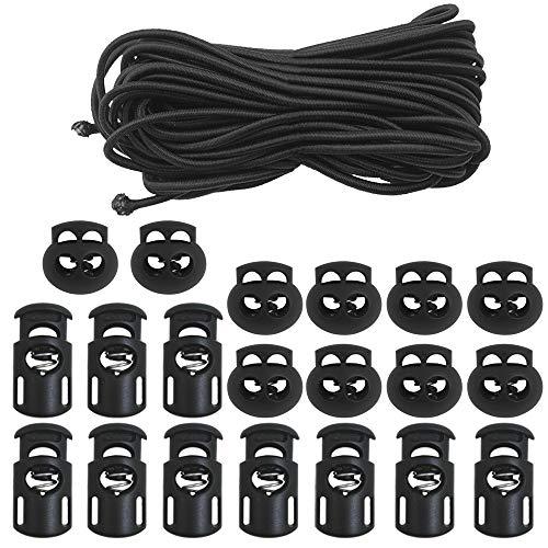 20 PCS Plastic Cord Locks & Elastic Bungee Nylon Shock Cord 5/32