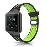 Fitbit Blaze Bands Accessory, VODKE Silicone Ventilate Replacement Watch Band/Strap/Bracelet/Wristband With Frame For Fitbit Blaze Smart Fitness Watch Men Women (Black+Green)
