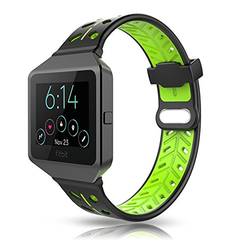 Fitbit Blaze Bands Accessory, VODKE Silicone Ventilate Replacement Watch Band/Strap/Bracelet/Wristband With Frame For Fitbit Blaze Smart Fitness Watch Men Women (Black+Green) by VODKE