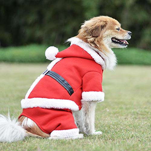 Zoneyee Christmas Pet Clothes Santa Costume Pet Hoodies Party Dressing Chirstmas Apparel for Small Pets Dogs Puppy Kitten Cat Four Leg Design with Leather Belt(Christmas Santa L -