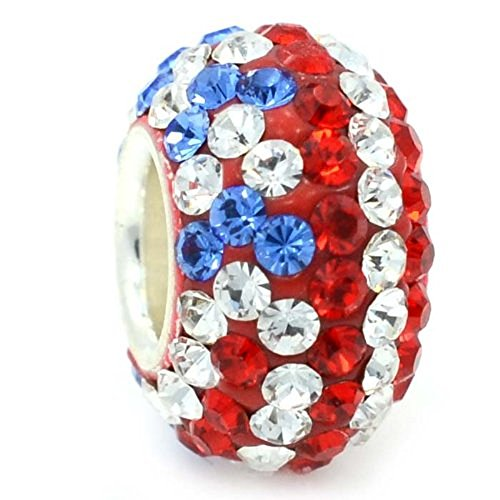 ICYROSE Solid 925 Sterling Silver Red, White and Blue Crystal American Flag Charm Bead for European Snake Chain Bracelets