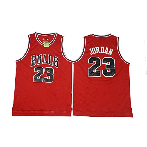 NUBIAN Chicago Team Retro Classic Red Jordan23 Embroidery Basketball Mesh Jersey -S