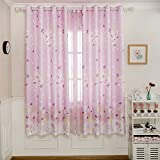 BGment 2 Pieces Classical Grommets Curtains Butterflies Rose Window Panels for Infant Room(Light Pink,52″ Wx84 L)
