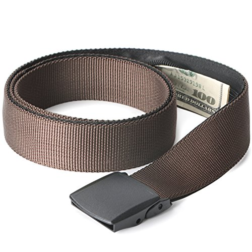 Travel Security Money Belt with Hidden Money Pocket - Cashsafe Anti-Theft Wallet Unisex Nickel free Nylon Belt by JASGOOD (1.5