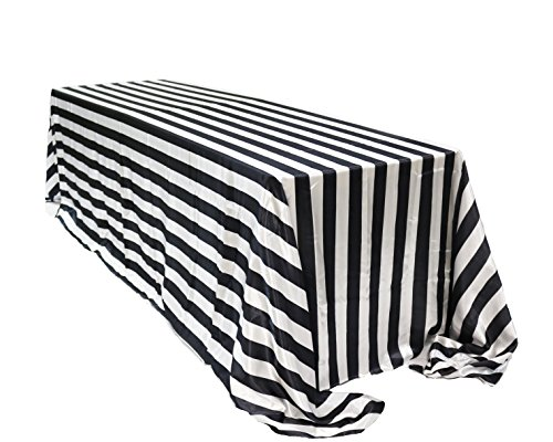 Your Chair Covers - 90 x 132 inch Rectangular Satin Tablecloth Black/White Striped, Rectangle Shiny Satin Table Linens for 6 ft Rectangular Tables]()