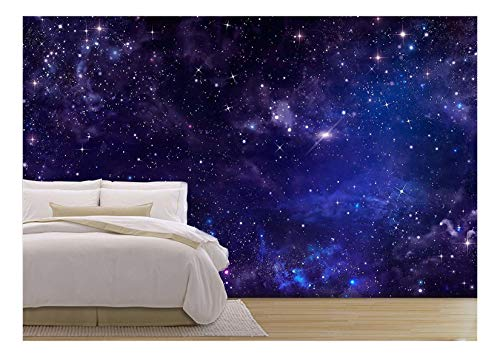 wall26 - Starry Night Sky Deep Outer Space - Removable Wall Mural | Self-Adhesive Large Wallpaper - 100x144 inches by wall26