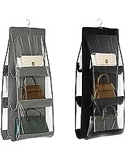 MICOKAY Hanging Closet Organizer, 2 Pcs 6 Pockets Hanging Handbag Purse Organizer for Family Closet Bedroom, Foldable and Universal (Black&Grey)