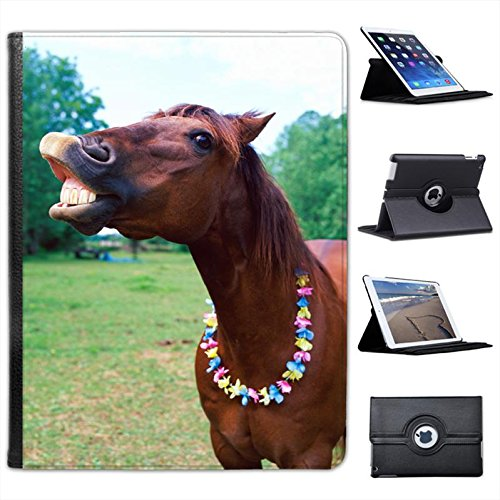 Brown Horse Wearing Necklace Smiling Teeth for Apple iPad 2, 3 & 4 Faux Leather Folio Presenter Case Cover Bag with Stand Capability ()