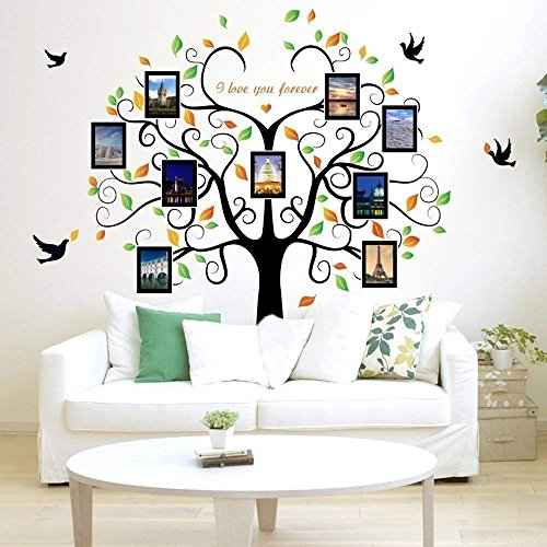 Cheap  Family Tree Wall Decal 9 Large Photo Pictures Frames. Peel and Stick..