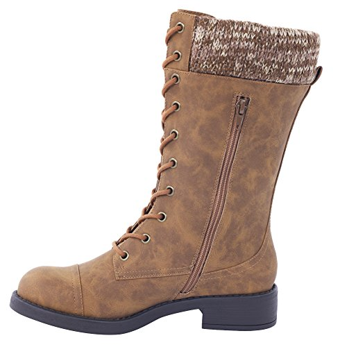 iisutas Women's Boots, Mid Calf High Boots by, Women's Combat Boots, Lace Up Women Boots With Credit Card and Cash Pocket.