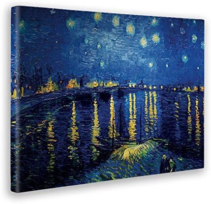 Vincent Van Gogh Stampa su Tela Canvas 50 X 70 Cm Quadro Notte Stellata