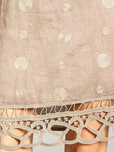 Kragen Damen CASPAR Sommer lässiges und Leinenkleid Taupe Punkten aufgestickten SKL019 knielanges mit tq10Bxaw1