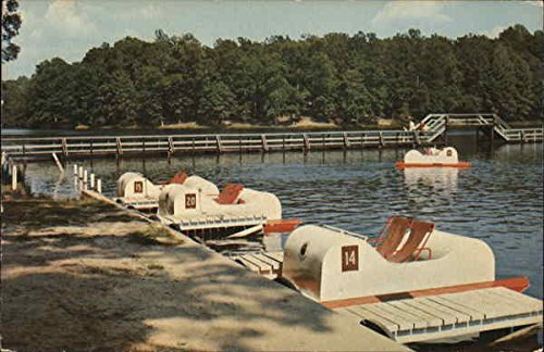 Boat Dock Showing Paddle Boats and Bridge in the Background Wildersville, Tennessee Original Vintage (60s Background)