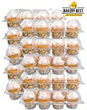 BAKERY BEST [10 Pack x 12 Counts] Cupcake Carrier keeps 12 Cupcakes | Plastic Container, Storage tray | Non-slip, Stackable | Large High Dome