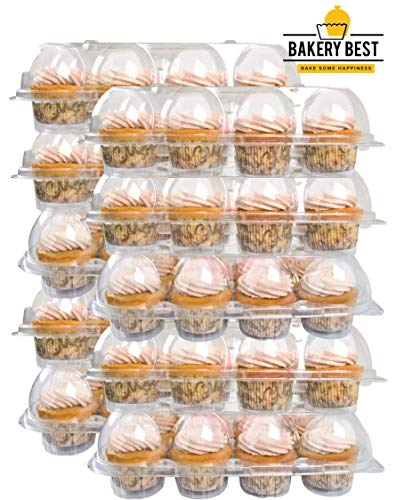 BAKERY BEST [10 Pack x 12 Counts] Cupcake Carrier keeps 12 Cupcakes | Plastic Container, Storage tray | Non-slip, Stackable | Large High Dome]()