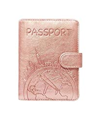 Passport Holder Leather Travel Wallet - RFID Blocking Passport Cover with Magnetic Closure for US Passport by Talent (Rose Gold)
