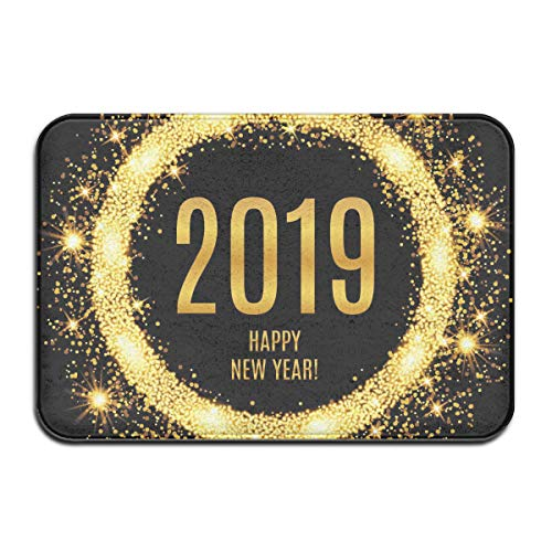 DIDIDI Happy New Year 2019 Black Gold Throw Area Ground Mat Accent Floor Carpet Outside Door Set Decor Welcome Entryway Rug Sign Celebrate Decorations Ornament -
