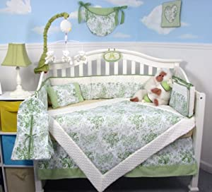 Soho French Sage Toile Baby Crib Nursery Bedding Set 13 pcs included Diaper Bag with Changing Pad & Bottle Case by SoHo Designs