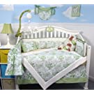Soho French Sage Toile Baby Crib Nursery Bedding Set 13 pcs included Diaper Bag with Changing Pad & Bottle Case