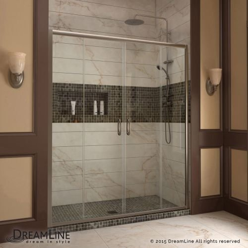 DreamLine Visions 56-60 in. Width, Frameless Sliding Shower Door, 1/4