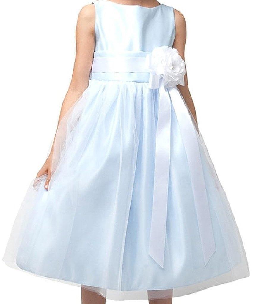 ffb3da8639b Amazon.com  Dreamer P Little Girls Modern Design Tulle Overlay Sash Flowers  Girls Dresses  Clothing