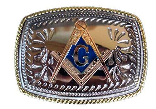 Masonic Silver And Gold 3D Compass G Rules Cowboy Western Belt Buckle