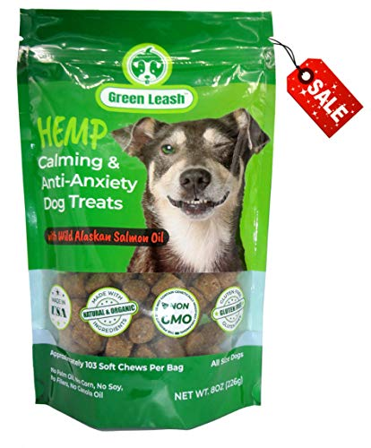 Green Leash~Hemp Oil and Seed Meal Calming Dog Treat, Anxiety Relief Aid with Wild Alaskan Salmon Oil.