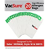 Sebo, Windsor Sensor Micro Filtration Commercial Upright Vacuum Bags By VacSure (20 Bags Included) Fits 5093AM, 5300.