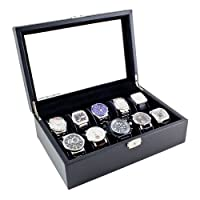 Carbon Fiber Pattern Glass Top Watch Case Display Storage Watch Box Holds 10 Watches With Removable Pillows And High Clearance For Large Watches by Caddy Bay Collection