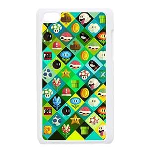 iPod Touch 4 Case White Super Mario Bros Plastic Customized Phone Case Cover XPDSUNTR18817