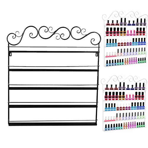 Wakrays Shelf Nail Polish Wall Rack Organizer Holds 200 Bottles Nail Polish or Essential Oils (One Size, Black)