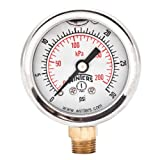 Winters PFQ Series Stainless Steel 304 Dual Scale Liquid Filled Pressure Gauge with Brass Internals, 0-30 psi/kpa 1-1/2