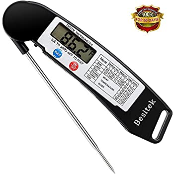 Digital Meat Thermometer Instant Read Cooking Thermometer with Stainless Probe, Best for Food, Meat, Cooking, BBQ, Poultry, Grill Food and Candy - Black