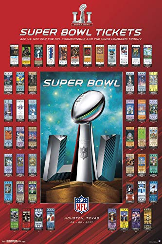 Super Bowl Ticket Poster - Trends International 24x36 Super Bowl LI-Tickets Mount Bundle Wall Poster, 24