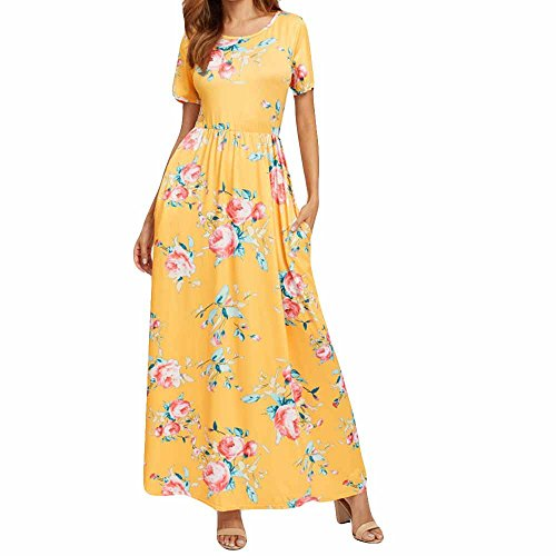 Price comparison product image Women Tunic Tops Dresses On Sale Lady Floral Short Sleeve Summer Outift Evening Party Long Maxi Dress (XL,  Yellow)