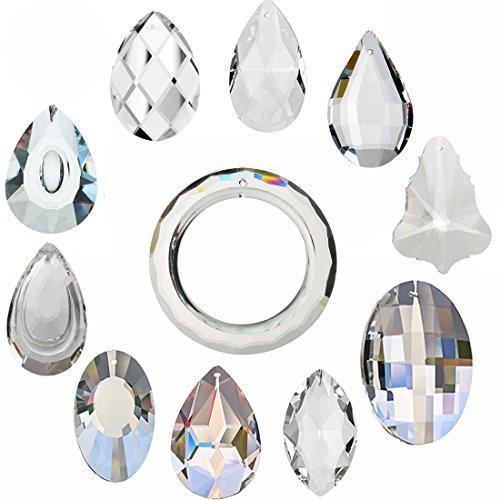 Prism Glass Decor Lighting - H&D 11pcs Clear Crystal Chandelier Lamp Lighting Drops Pendants Balls Prisms Hanging Glass Prisms Parts Suncatcher Home/House Decor