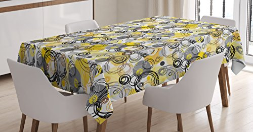 Ambesonne Grey and Yellow Tablecloth, Hand Drawn Sketchy Geometrical Retro Modern Circles Image, Dining Room Kitchen Rectangular Table Cover, 60 W X 84 L inches, Mustard White Grey